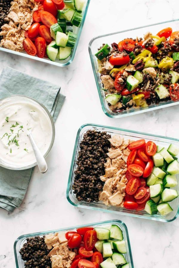 Lentil Greek Salad with Dill SaucePinch of Yum
