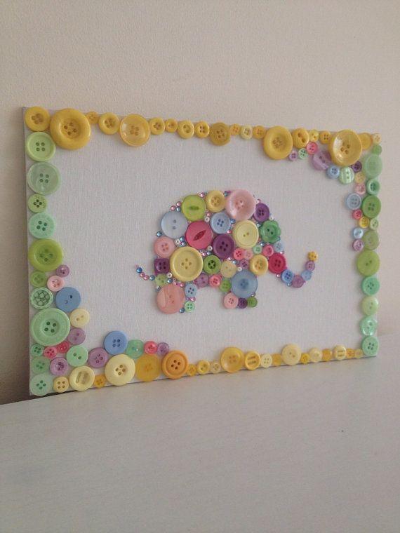 Multi Coloured Elephant Flat Back Canvas Button Art  Unique 8x12inc  Handmade.>> TOO cute!