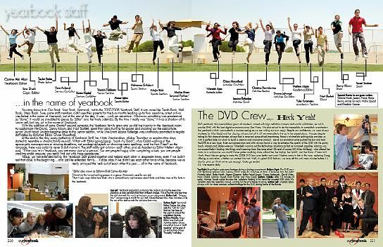 This is a great example of a club page.  This could be done for the cheer leaders, art club, yearbook/newspaper staff, etc.  It includes body copy / stories, but also shows the personalities of each student even if they didn't end up in the pictures on the bottom of the page.