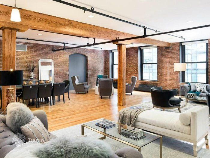 You can zone the area of your choice as an example of this Classic loft. See how in one area can be arranged lounge area, game room, dining room, office. How many opportunities all in one room!