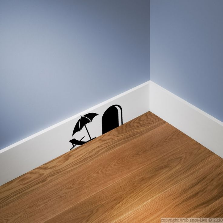 Mouse hole and umbrella wall decal.