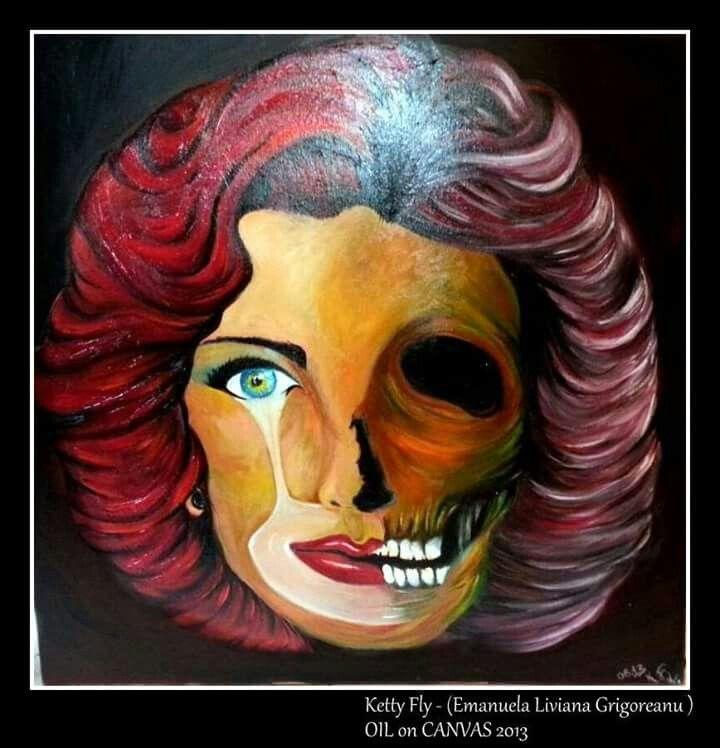 #teschio #oil #canvas #ink  Ketty Fly - Liviana Grigoreanu #woman #dubleface