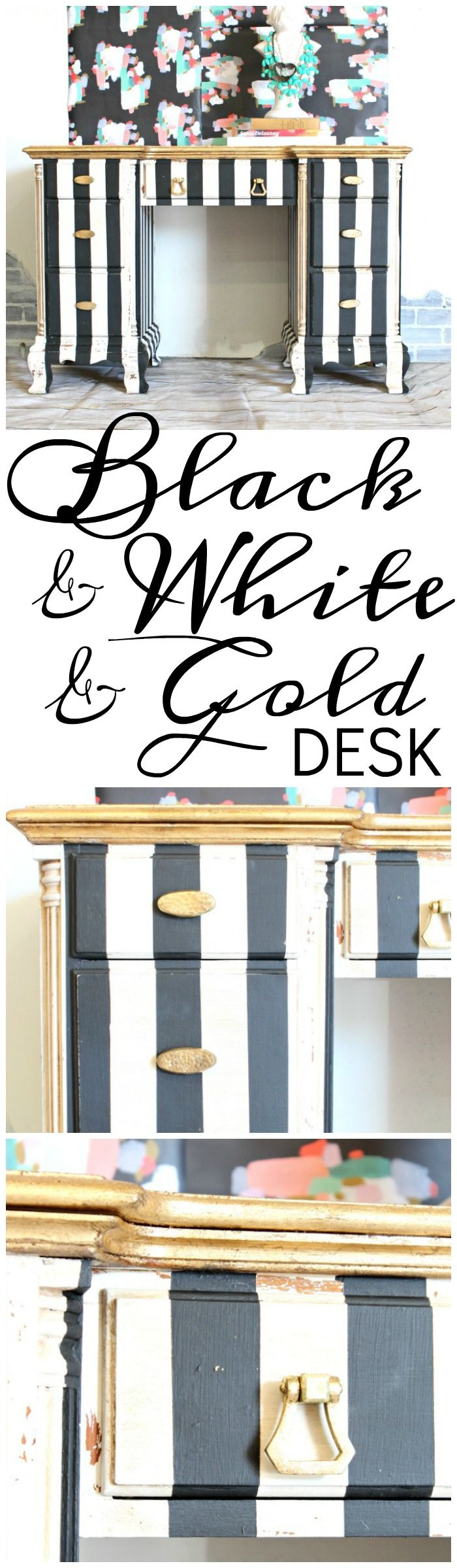 Black & White & Gold Painted Striped Desk - Refunk My Junk