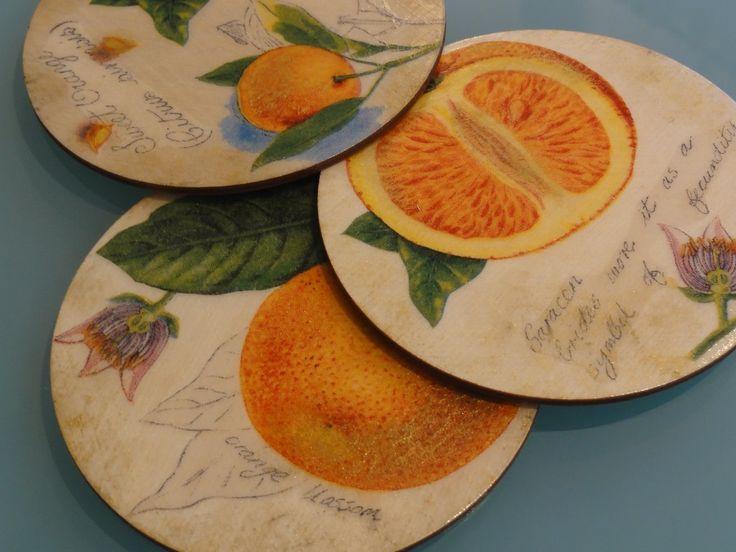 Podkładki decoupage, złocone - orange