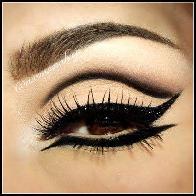 Heavy black glitter lined, cut crease and neutral #eye #makeup #eyeshadow #dark #black #eyes #dramatic