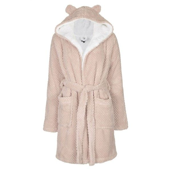 Women's Topshop 'Teddy' Hooded Robe ($62) ❤ liked on Polyvore featuring intimates, robes, wrap robe, teddy dressing gown, hooded bath robe, bath robes and hooded robes