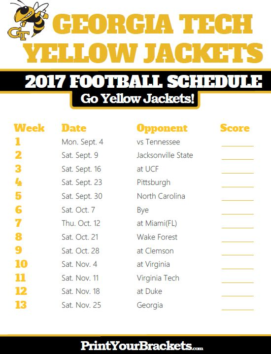 2017 Georgia Tech Yellow Jackets Football Schedule!!! I am counting down the days!!! Less than two months!