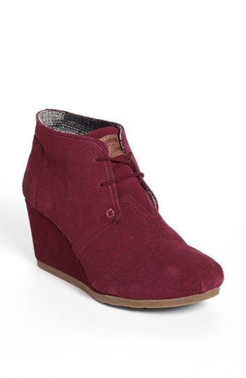"TOMS boots! The 'Desert"" Wedge Bootie in Burgundy."