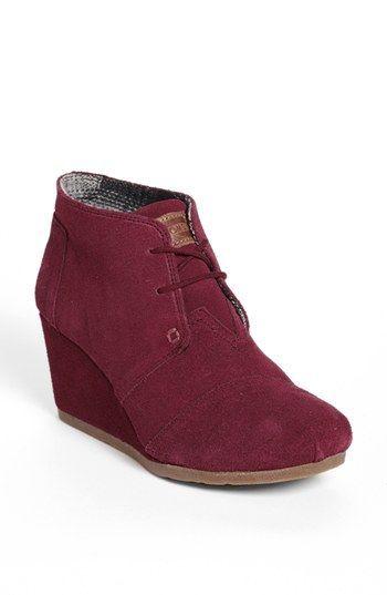 "TOMS boots! The 'Desert"" Wedge Bootie in Burgundy."
