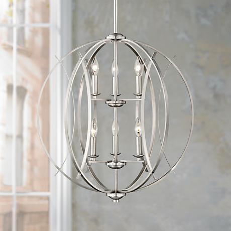 Brushed nickel spherical 24 wide 6 light pendant light