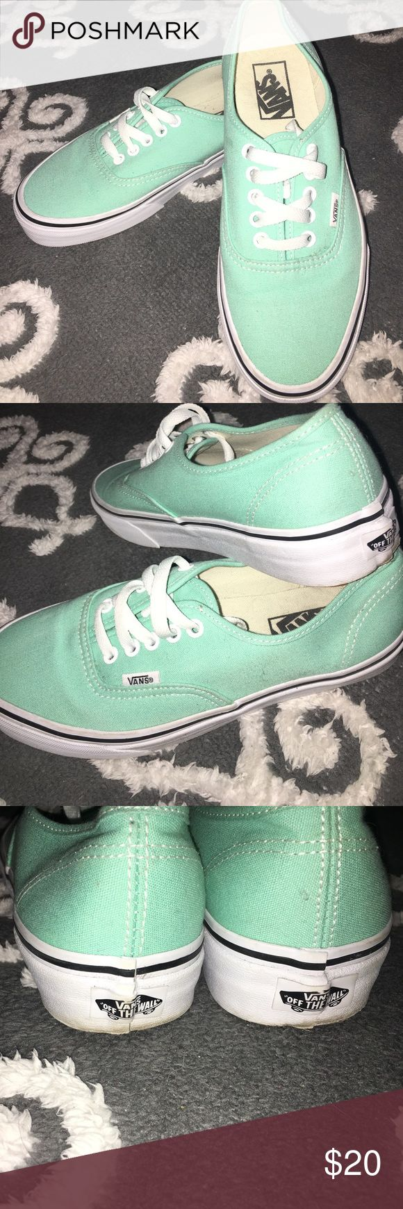 Mint green Vans SZ 8 The perfect colored vans for any neutral outfit! Worn once. Has some scuffs on the edges and back but no wear or stains. Smoke free home Vans Shoes Sneakers