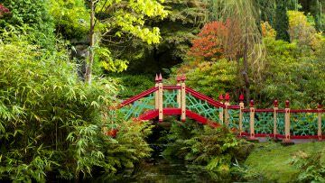 Bridge over the pool at Biddulph Grange Garden