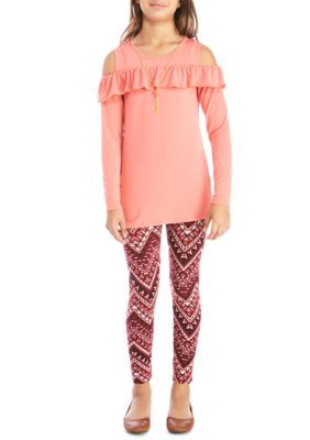 One Step Up Long Sleeve Coral Ruffle Cotton Spandex Printed Leg Set Girls 7-16 - Sweet Coral Rose - M