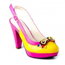 [Lolita - fuscia and yellow court shoe]    A stunning Spanish court shoe with sling back. To give an 'edge' to work or a hint of fun for a smart occasion. Made from vibrant soft leather with a multi-colour suede stranded bow, absolutely fabulous! If you're looking to complete your outfit, take a peek at the clutch bag 'Balin' Ref. 8097-14 ... a perfect match!    Heel height: 4 inches    Platform: 1 inch  Price:  £87.0