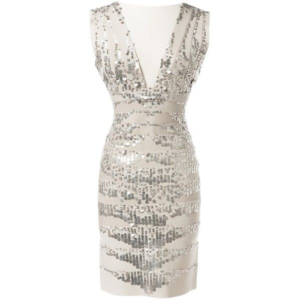 Pre-owned Herve Leger Mid-Length Dress ($356) ❤ liked on Polyvore featuring dresses, beige, women clothing dresses, sequin bandage dress, rayon dress, v neck cocktail dress, v neck dress and plunge dress