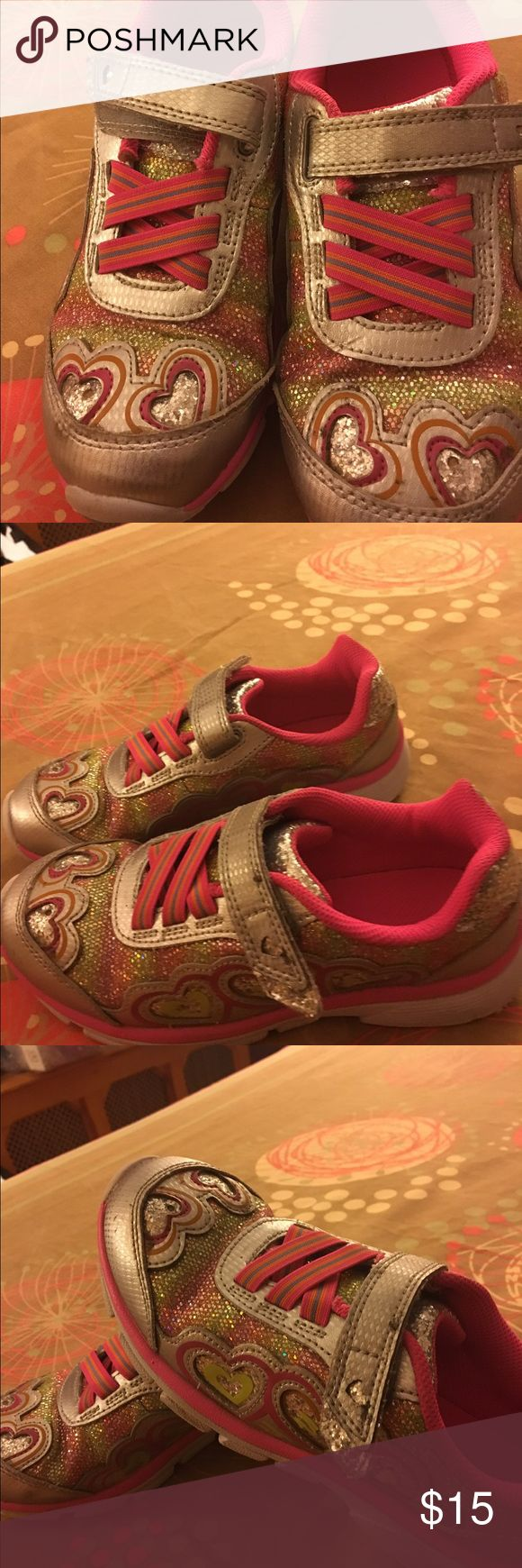 Pink Sneakers for girls. Only used once Sneakers with lights and heart designs Stride Rite Shoes Sneakers