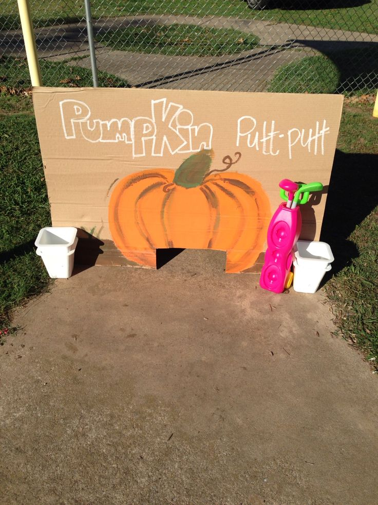 Pumpkin putt-putt for headstart/preschool fall festival. Was hugely popular with the kids!