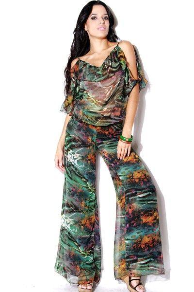 #clubwear21.com #dress #fashion Marrakesh ruffled animal print chiffon wide leg jumpsuit-$39.00