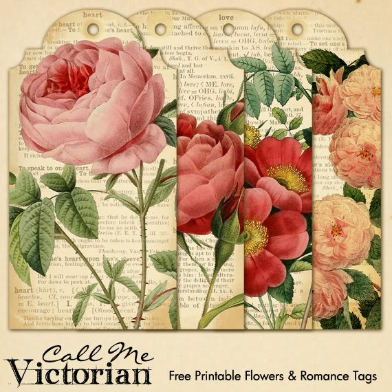FREE printable flower & romantic tags.... 8.5x11 PDF sheet in post AND individual PNG tag images