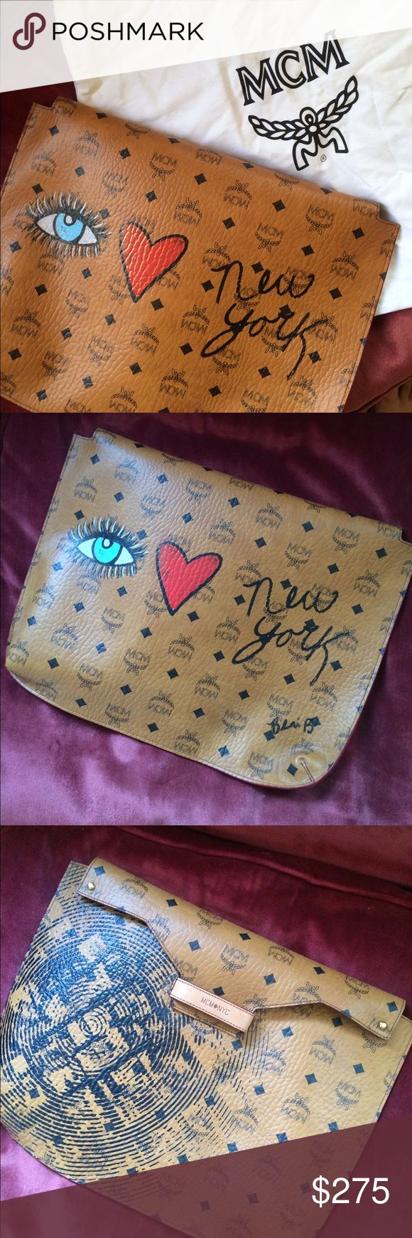 Custom MCM Clutch Custom clutch or laptop case by MCM. Hand painted at a Vogue event by fashion illustrator Blair Breitsenstein (@blairz). Comes with the original dust bag. MCM Bags Clutches & Wristlets
