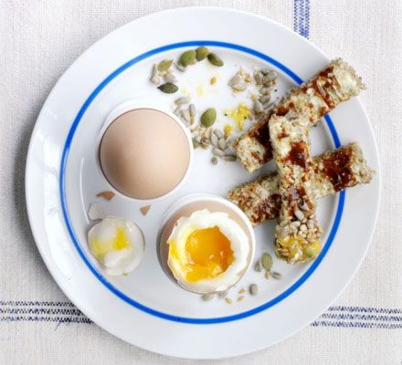 Dippy eggs with Marmite soldiers. Start the day the right way, with this quick, easy and nutritious breakfast.