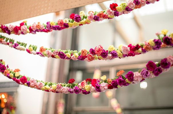 flower bunting made from carnations so its not too expensive!