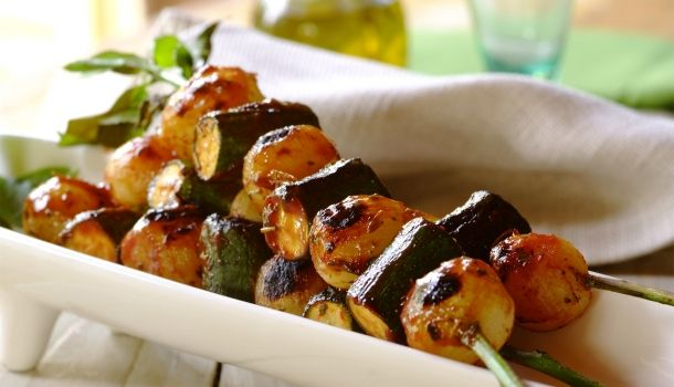 Sweet Onion and Courgette Kebabs