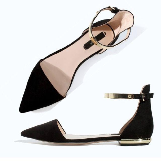 Pequeño tamaño grande 31.32.33.34.40.41.42 punta estrecha mujeres tobillo correa zapatos planos señora recorte de vacío medio primavera de zapatos de verano