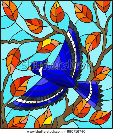 Illustration in the style of stained glass with a beautiful blue bird on a background of autumn branch of tree and sky