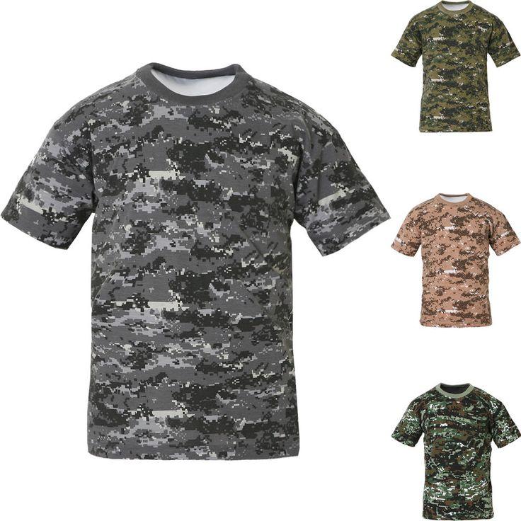 Mens Military Camouflage T Shirt Army Combat Tactical Digital Camo Hunting Tee #hellobincom #MilitaryCamouflageTShirt
