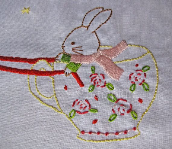 Flight of the teacup hand embroidery pdf pattern
