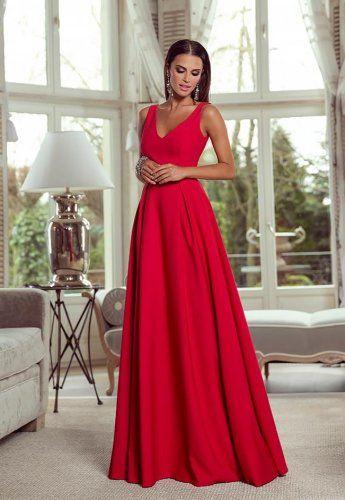 d743be237f Klasyczna długa suknia balowa czerwona. Elegancka sukienka wieczorowa maxi  na bale i sylwestra