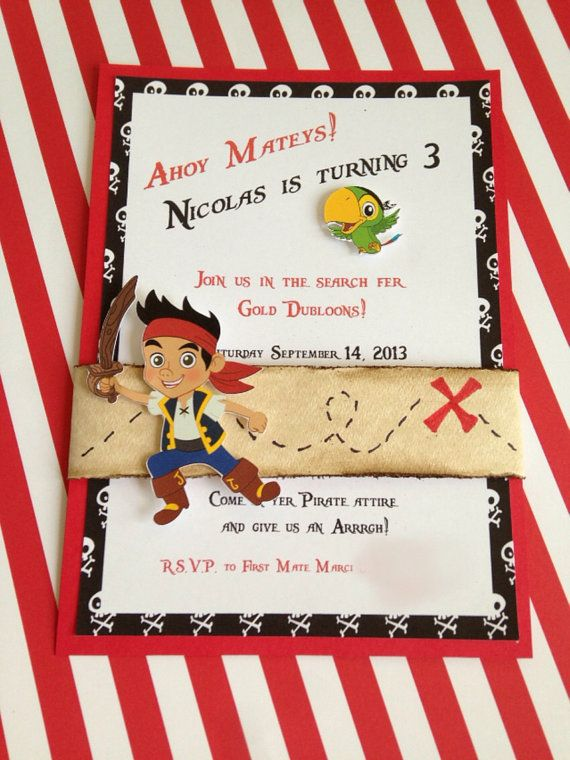 Jake and the Neverland Pirates Insipred Birthday Invitation  on Etsy, $30.00