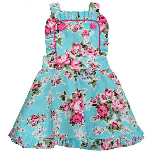 Audrey Dress Blue Floral | Rock Your Baby | www.rockyourbaby.com