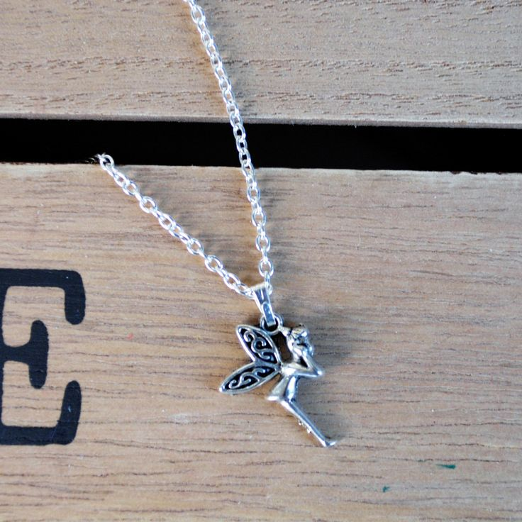 Fairy tinkerbell tibetan silver plated charm necklace by AccessoriesShine on Etsy