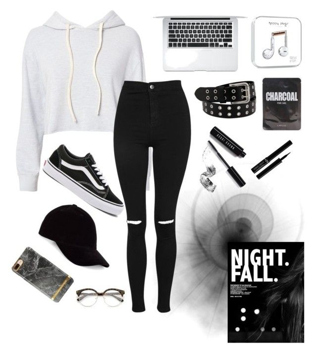 m o n o c h r o m e by hxnnxhnicxle on Polyvore featuring polyvore, fashion, style, Monrow, Topshop, Vans, Le Amonie, Giorgio Armani, Bobbi Brown Cosmetics and clothing