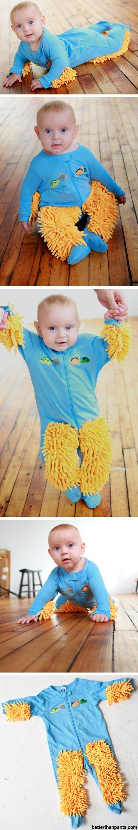 "Yes.  This is for real.  It's called the ""Baby Mop"".  This outfit transforms your crawling infant into a tool commonly used for household chores. Well, at the very least their little knees and elbows are well cushioned. child abuse or genius?"