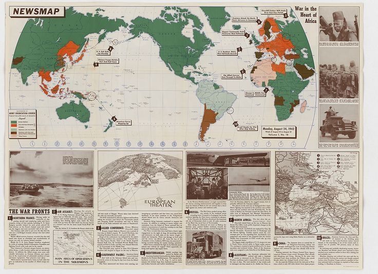 "August 24, 1942 edition of the ""Newsmap"" publication, a weekly issuance of the U.S. Army which was distributed to members of the military and provided news about the progress of World War II. This issue describes the initial stages of the Guadalcanal Campaign, which had started two weeks earlier. (US National Archives)"