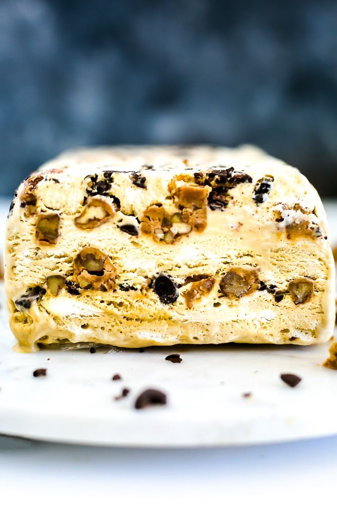 Coffee Semifreddo with pecan pralines and chocolate covered espresso beans is a tasty great combo! This is a real treat for coffee and chocolate lovers.