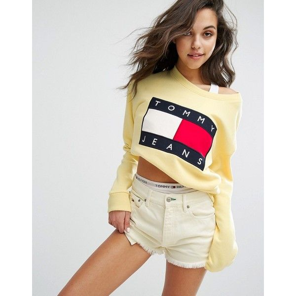 Tommy Jeans 90's Sweatshirt ($135) ❤ liked on Polyvore featuring tops, hoodies, sweatshirts, yellow, crewneck sweatshirt, jersey top, tommy hilfiger, yellow sweatshirt and crew neck sweatshirts