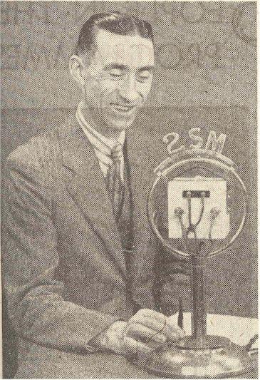 radio history image Harry Millard smiles for the camera, 2SM Sydney