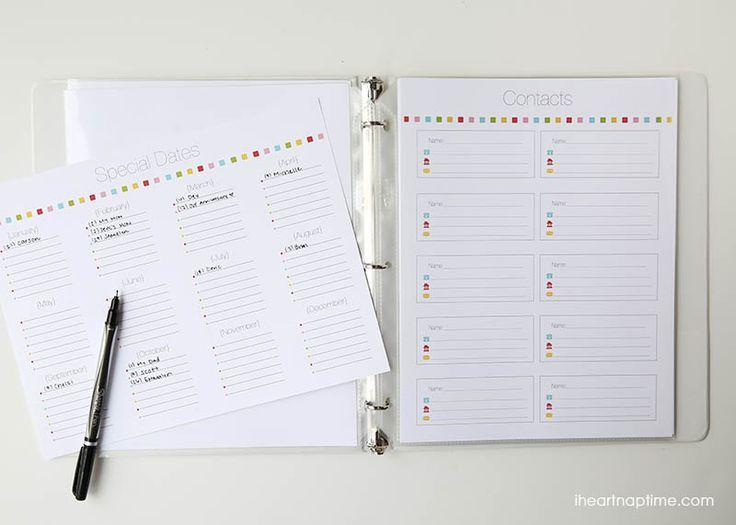 Planejador família impressa Free on iheartnaptime.com ... inclui printables gratuitos e dicas para ajudar você a se organizar este ano!