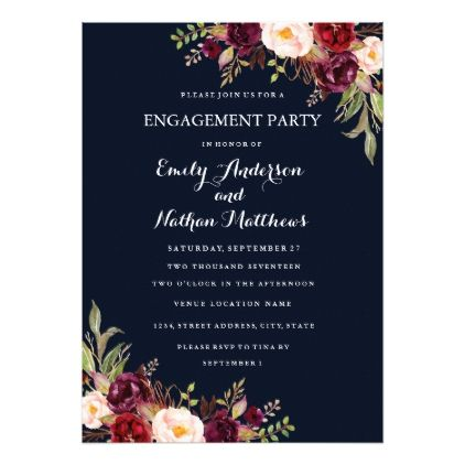 Navy Burgundy Floral Fall Engagement Party Card - invitations custom unique diy personalize occasions