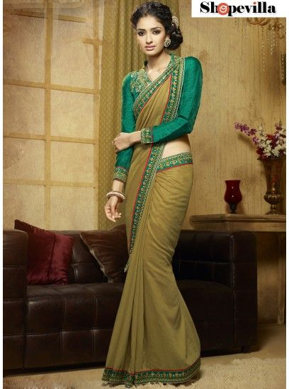 Fancy Olive Green Saree Designs Simple Resham Embroidery Patterns Neck-309
