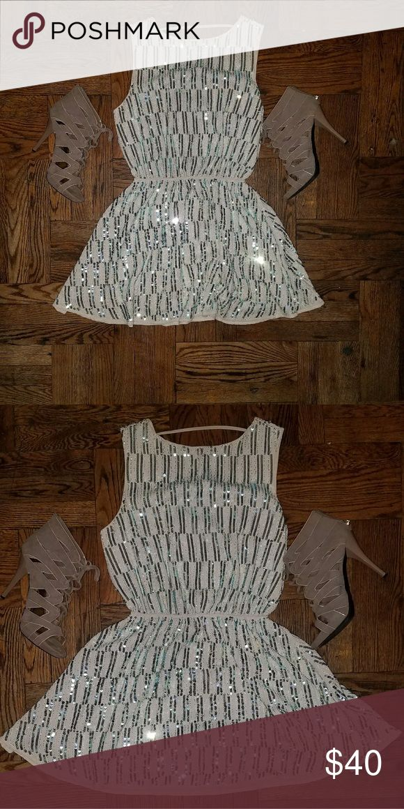 Vintage NEW YEARS Dress Beige Mini Dress. Great Condition Length- mid thigh Size- Large GREAT FOR NEW YEARS Dresses Mini
