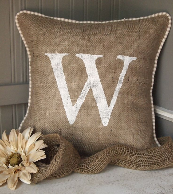 Custom hand painted Monogram, burlap pillow cover with french ticking, piping