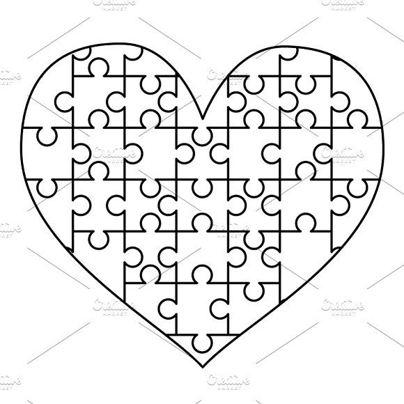 White Puzzles Pieces In Heart Shape Puzzle Pieces Valentines