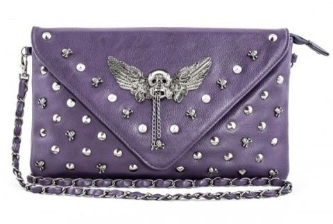 Koko Purple Skull Stud Envelope Clutch Bag