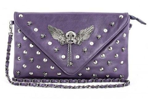 Koko Purple Skull Stud Envelope Clutch Bag