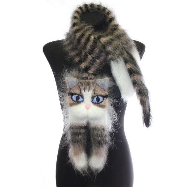 Knitted Scarf / animal scarf / tabby cat / Fuzzy black ...